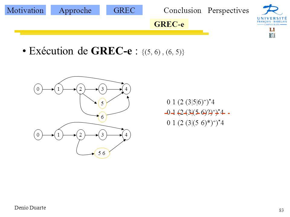 83 Denio Duarte Exécution de GREC-e : {(5, 6), (6, 5)} 12340 5 0 1 (2 (3|5|6) + ) * 4 0 1 (2 (3|(5 6)?) + ) * 4 0 1 (2 (3|(5 6)*) + ) * 4 6 12340 5 6 MotivationApprocheGREC GREC-e ConclusionPerspectives
