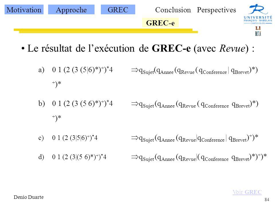 84 Denio Duarte Le résultat de lexécution de GREC-e (avec Revue) : a)0 1 (2 (3 (5|6)*) + ) * 4 q Sujet (q Annee (q Revue ( q Conference | q Brevet )*) + )* b)0 1 (2 (3 (5 6)*) + ) * 4 q Sujet (q Annee (q Revue ( q Conference q Brevet )*) + )* c)0 1 (2 (3|5|6) + ) * 4 q Sujet (q Annee (q Revue |q Conference | q Brevet ) + )* d)0 1 (2 (3|(5 6)*) + ) * 4 q Sujet (q Annee (q Revue |( q Conference q Brevet )*) + )* Voir GREC MotivationApprocheGREC GREC-e ConclusionPerspectives