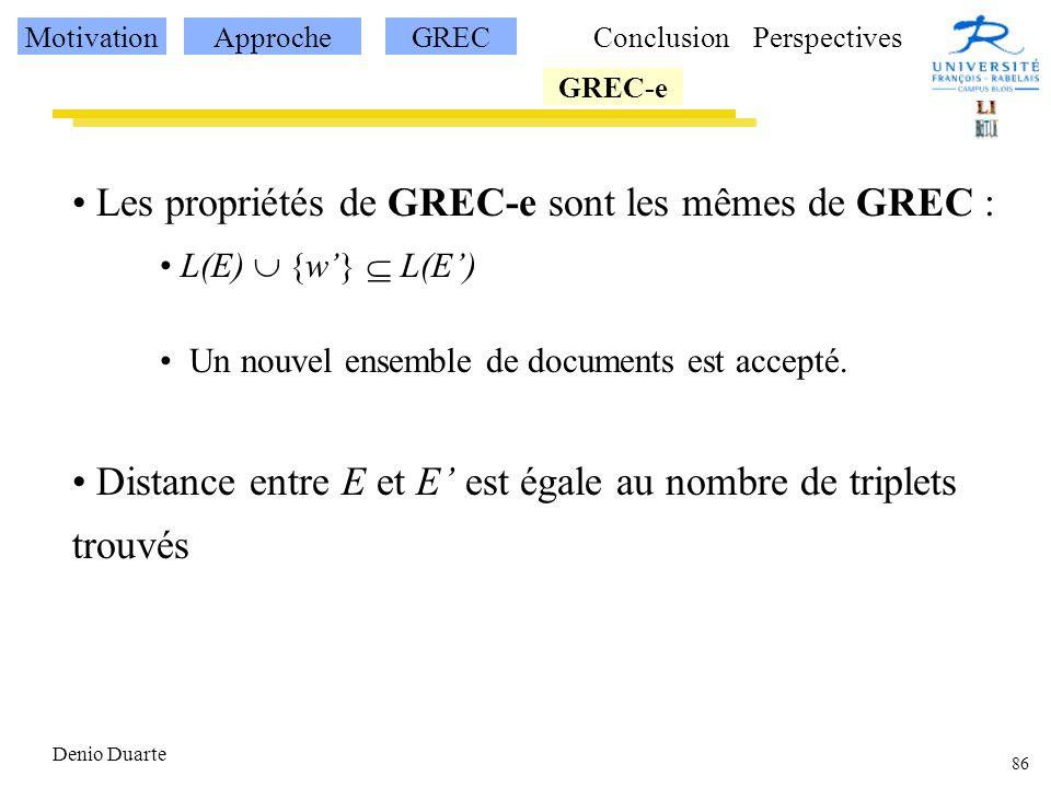 86 Denio Duarte Les propriétés de GREC-e sont les mêmes de GREC : L(E) {w} L(E) Un nouvel ensemble de documents est accepté.