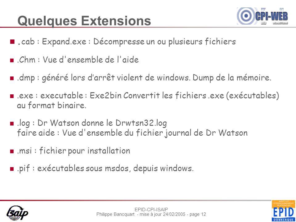 EPID-CPI-ISAIP Philippe Bancquart - mise à jour 24/02/2005 - page 12 Quelques Extensions.