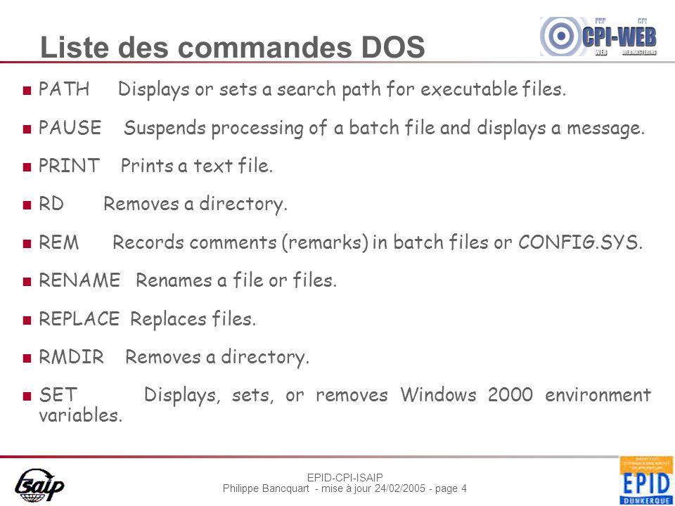 EPID-CPI-ISAIP Philippe Bancquart - mise à jour 24/02/2005 - page 5 Liste des commandes DOS SORT Sorts input.