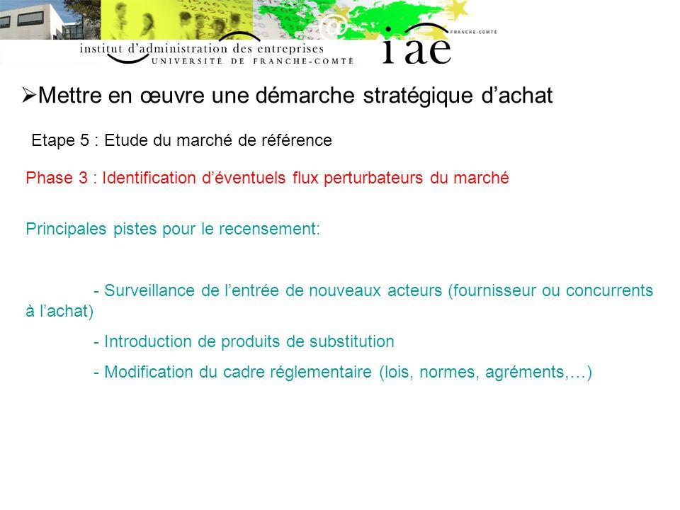 Mettre en œuvre une démarche stratégique dachat Etape 5 : Etude du marché de référence Phase 3 : Identification déventuels flux perturbateurs du march