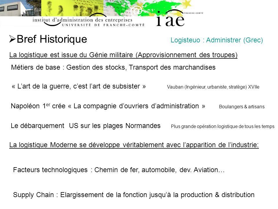 Bref Historique La logistique est issue du Génie militaire (Approvisionnement des troupes) Métiers de base : Gestion des stocks, Transport des marchan