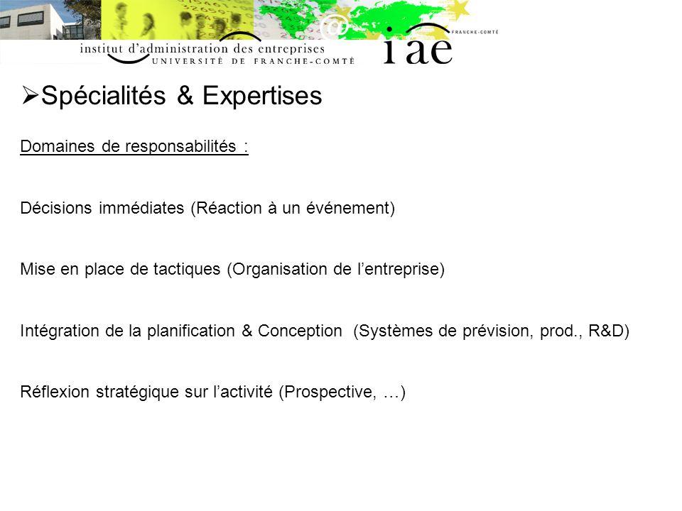 Spécialités & Expertises Domaines de responsabilités : Décisions immédiates (Réaction à un événement) Mise en place de tactiques (Organisation de lent