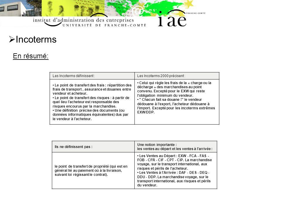 Incoterms En résumé: Les Incoterms définissent :Les Incoterms 2000 précisent : Le point de transfert des frais : répartition des frais de transport, a