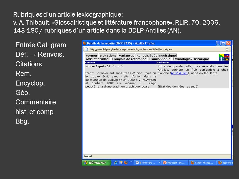 Rubriques dun article lexicographique: v. A. Thibault, «Glossairistique et littérature francophone», RLiR, 70, 2006, 143-180 / rubriques dun article d