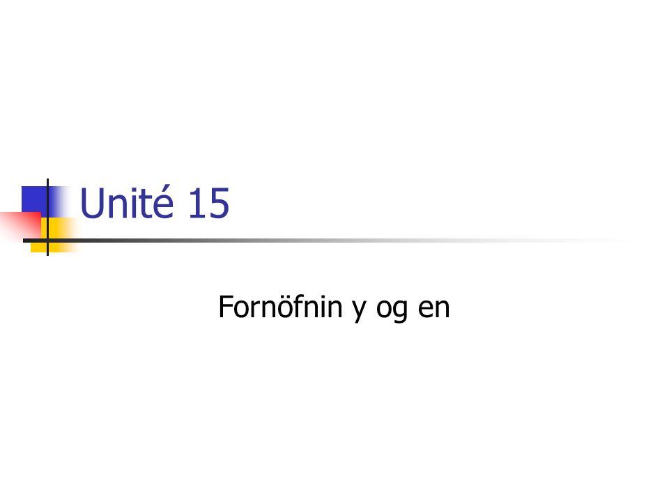 Y Y – kemur í stað nafnorðs sem stendur með einni af eftirfarandi forsentingum: à, en, dans, sur, sous, chez.