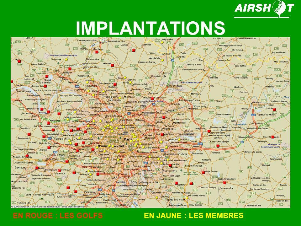 IMPLANTATIONS EN ROUGE : LES GOLFSEN JAUNE : LES MEMBRES