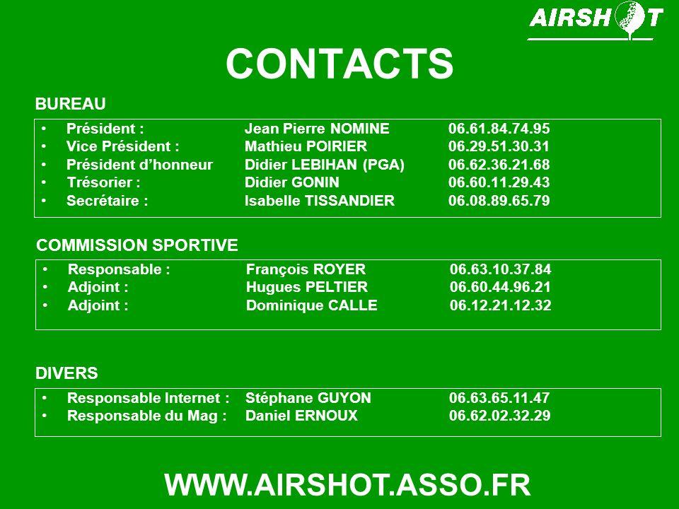 CONTACTS Président : Jean Pierre NOMINE06.61.84.74.95 Vice Président : Mathieu POIRIER06.29.51.30.31 Président dhonneurDidier LEBIHAN (PGA)06.62.36.21