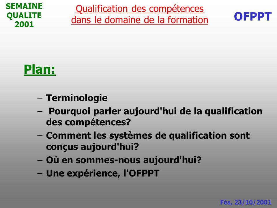 SEMAINE QUALITE 2001 Plan: –Terminologie – Pourquoi parler aujourd'hui de la qualification des compétences? –Comment les systèmes de qualification son