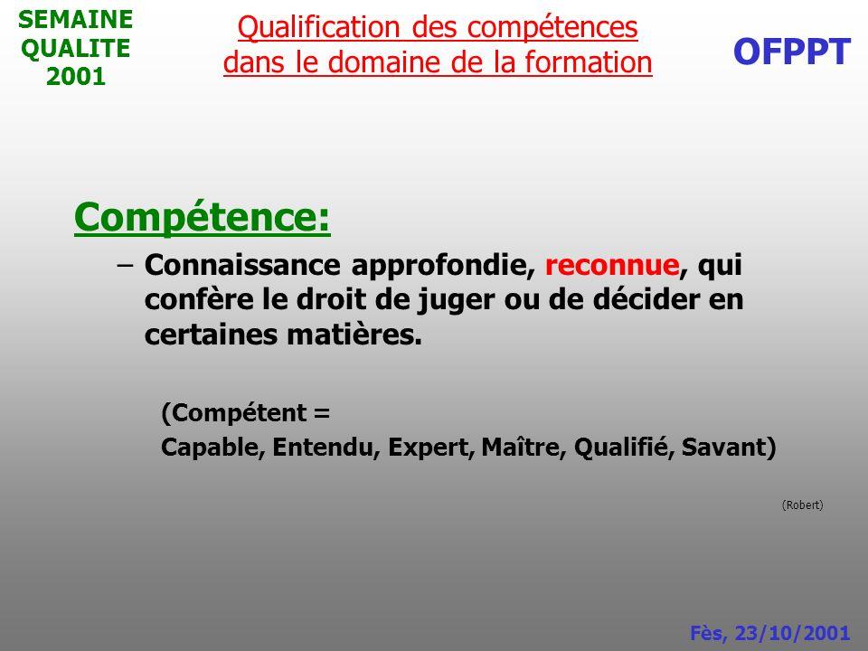 SEMAINE QUALITE 2001 Compétence: –Connaissance approfondie, reconnue, qui confère le droit de juger ou de décider en certaines matières.