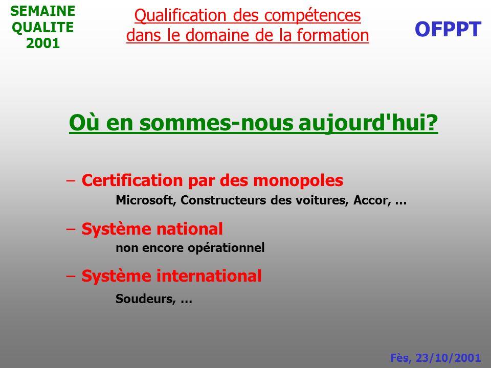SEMAINE QUALITE 2001 Où en sommes-nous aujourd'hui? –Certification par des monopoles Microsoft, Constructeurs des voitures, Accor, … –Système national