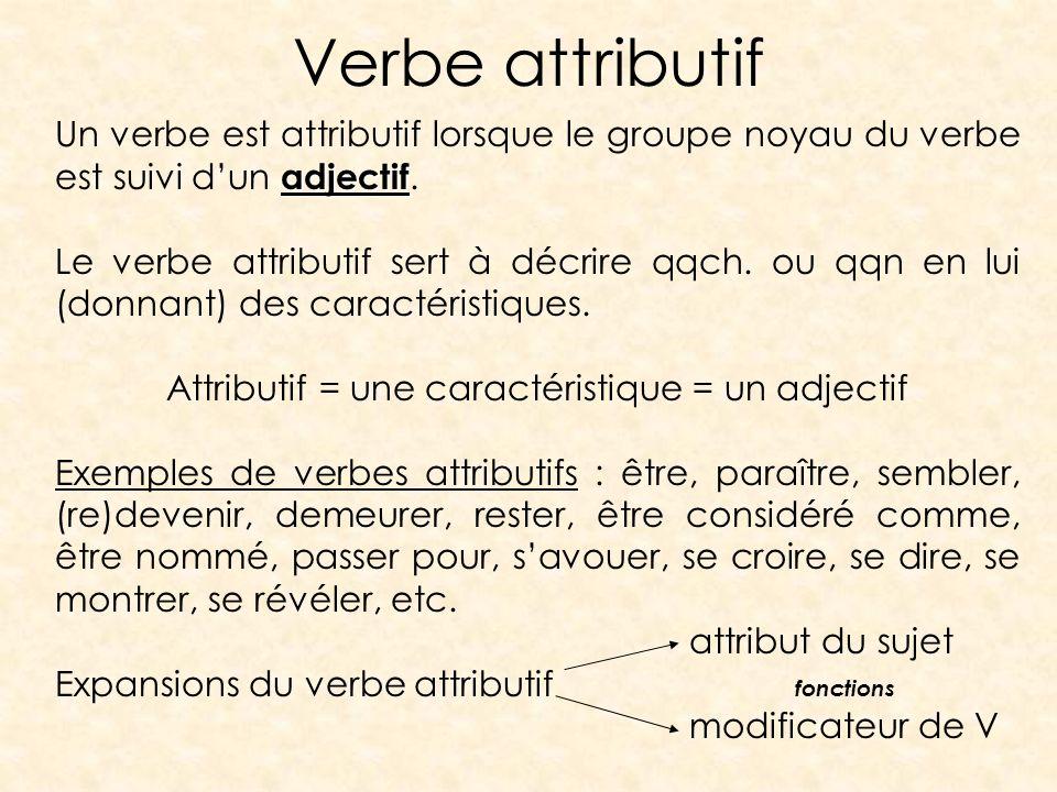 Verbe attributif adjectif Un verbe est attributif lorsque le groupe noyau du verbe est suivi dun adjectif. Le verbe attributif sert à décrire qqch. ou