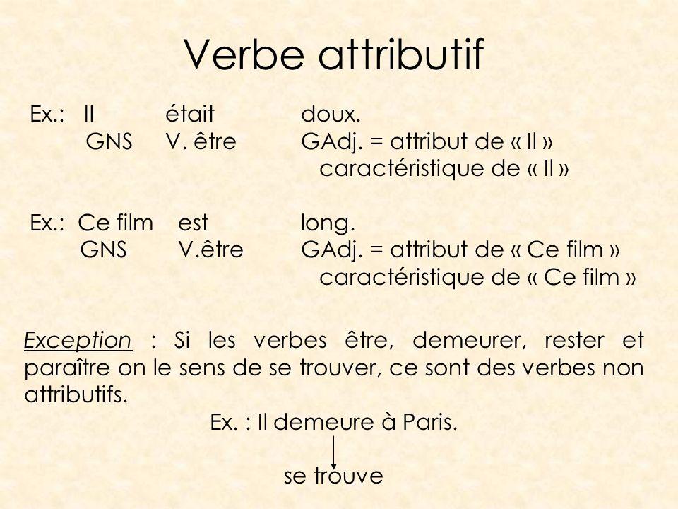 Verbe attributif Ex.: Ilétaitdoux. GNSV. êtreGAdj. = attribut de « Il » caractéristique de « Il » Ex.: Ce film est long. GNS V.êtreGAdj. = attribut de