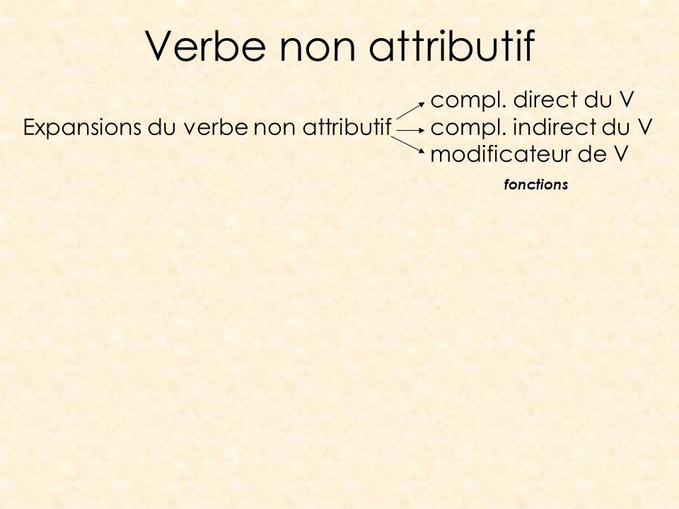 Verbe non attributif compl. direct du V Expansions du verbe non attributifcompl. indirect du V modificateur de V fonctions