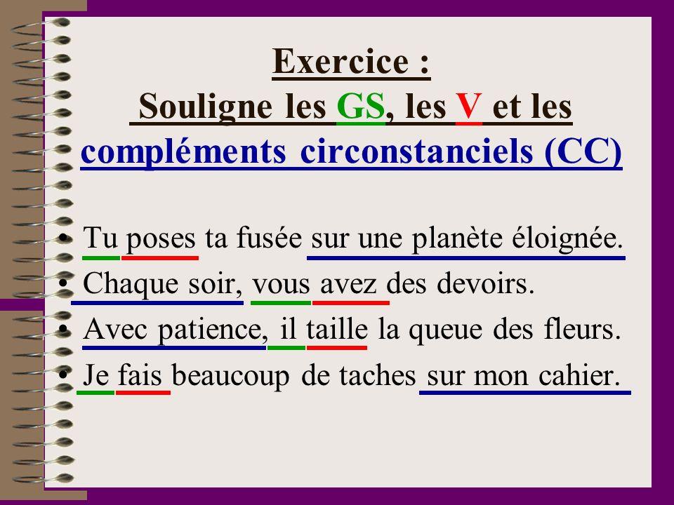 Exercice : Souligne les GS, les V et les compléments circonstanciels (CC) Tu poses ta fusée sur une planète éloignée. Chaque soir, vous avez des devoi