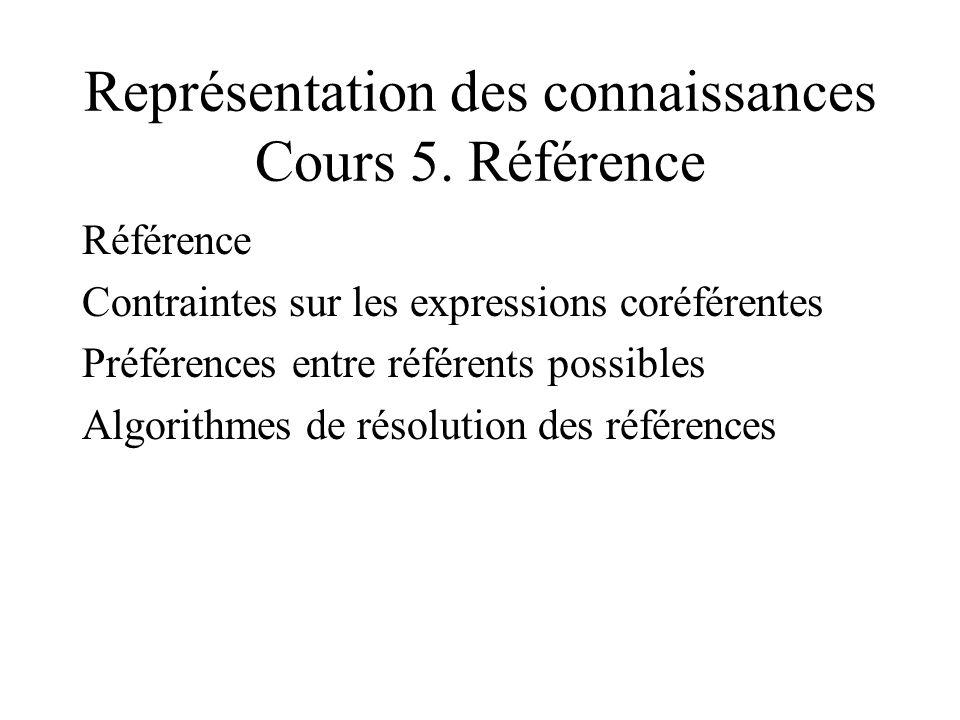 Représentation des connaissances Cours 5.