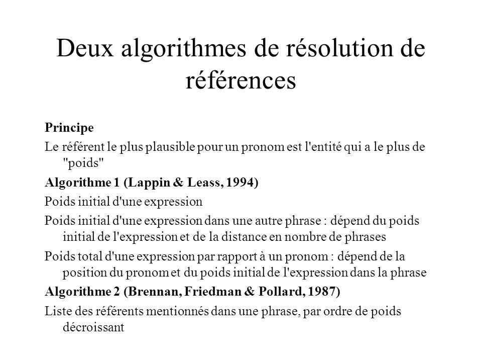 Deux algorithmes de résolution de références Principe Le référent le plus plausible pour un pronom est l entité qui a le plus de poids Algorithme 1 (Lappin & Leass, 1994) Poids initial d une expression Poids initial d une expression dans une autre phrase : dépend du poids initial de l expression et de la distance en nombre de phrases Poids total d une expression par rapport à un pronom : dépend de la position du pronom et du poids initial de l expression dans la phrase Algorithme 2 (Brennan, Friedman & Pollard, 1987) Liste des référents mentionnés dans une phrase, par ordre de poids décroissant
