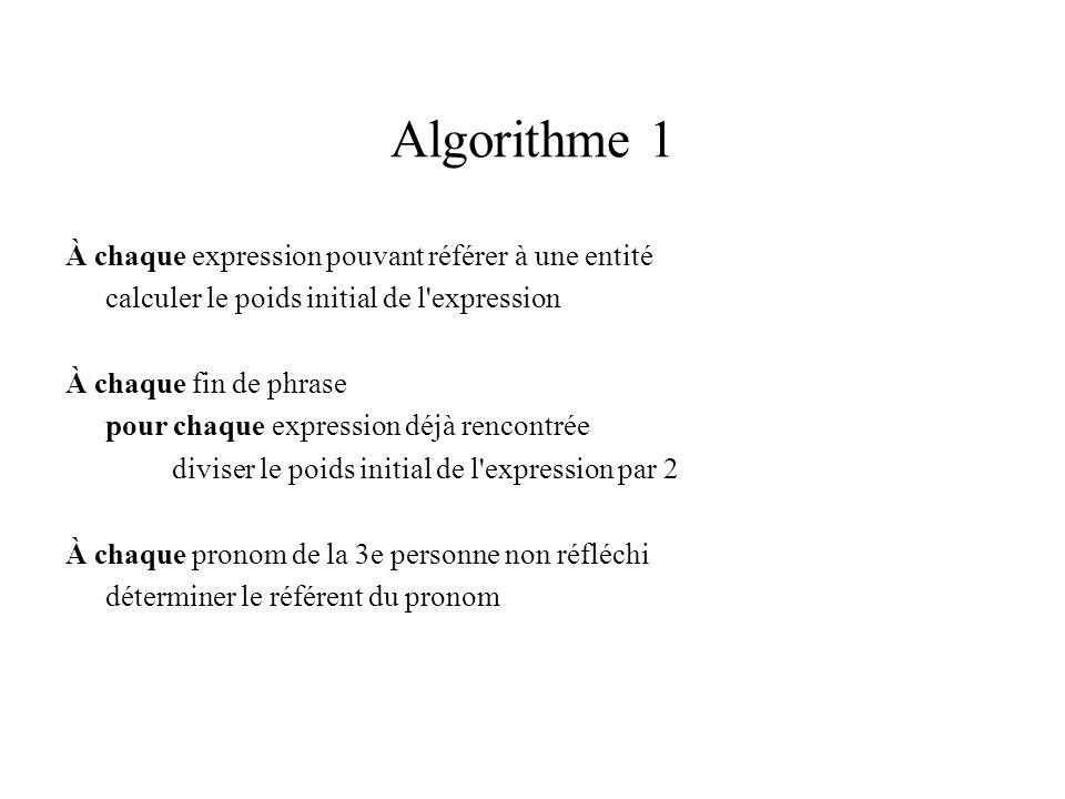Algorithme 1 À chaque expression pouvant référer à une entité calculer le poids initial de l expression À chaque fin de phrase pour chaque expression déjà rencontrée diviser le poids initial de l expression par 2 À chaque pronom de la 3e personne non réfléchi déterminer le référent du pronom