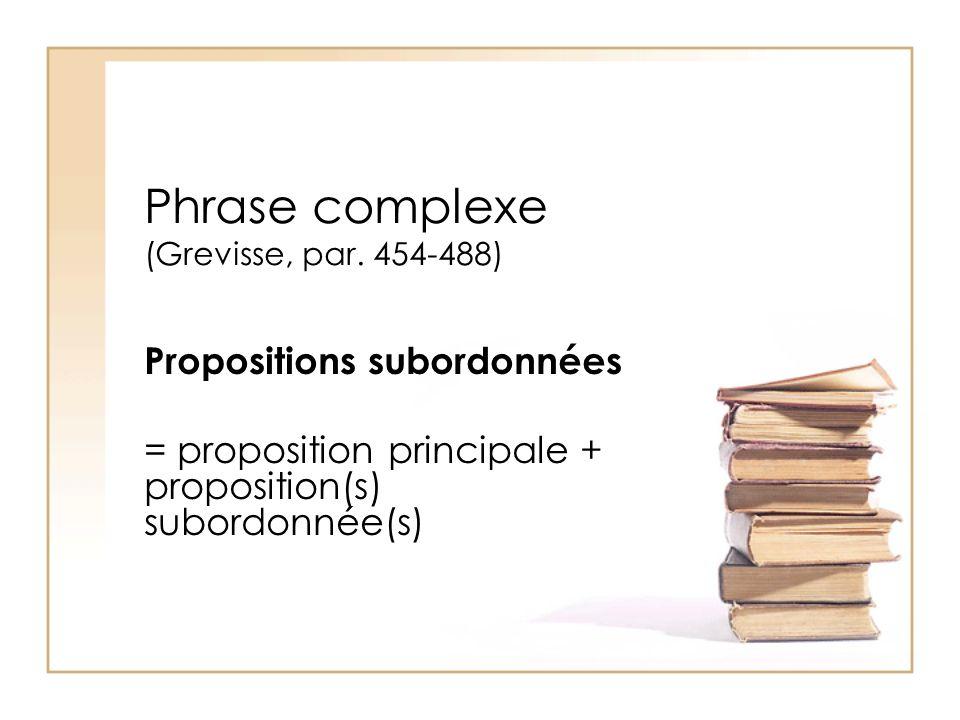 Phrase complexe (Grevisse, par. 454-488) Propositions subordonnées = proposition principale + proposition(s) subordonnée(s)