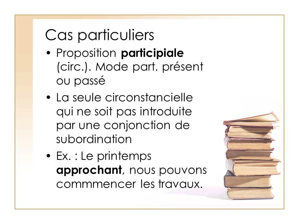 Cas particuliers Proposition participiale (circ.). Mode part. présent ou passé La seule circonstancielle qui ne soit pas introduite par une conjonctio