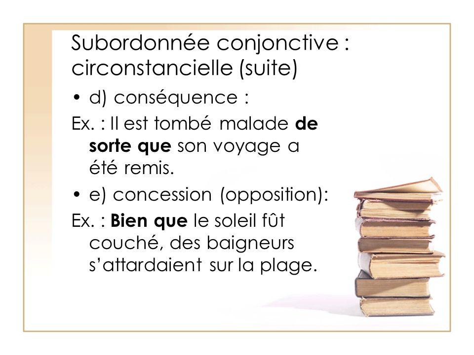 Subordonnée conjonctive : circonstancielle (suite) d) conséquence : Ex. : Il est tombé malade de sorte que son voyage a été remis. e) concession (oppo