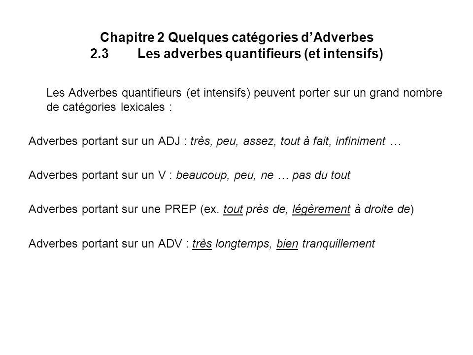 Chapitre 2 Quelques catégories dAdverbes 2.3Les adverbes quantifieurs (et intensifs) Les Adverbes quantifieurs (et intensifs) peuvent porter sur un gr