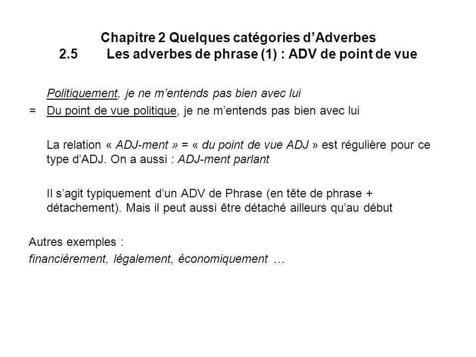 Chapitre 2 Quelques catégories dAdverbes 2.5Les adverbes de phrase (1) : ADV de point de vue Politiquement, je ne mentends pas bien avec lui = Du poin