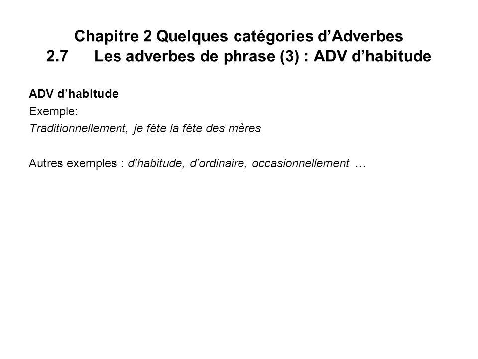 Chapitre 2 Quelques catégories dAdverbes 2.7 Les adverbes de phrase (3) : ADV dhabitude ADV dhabitude Exemple: Traditionnellement, je fête la fête des