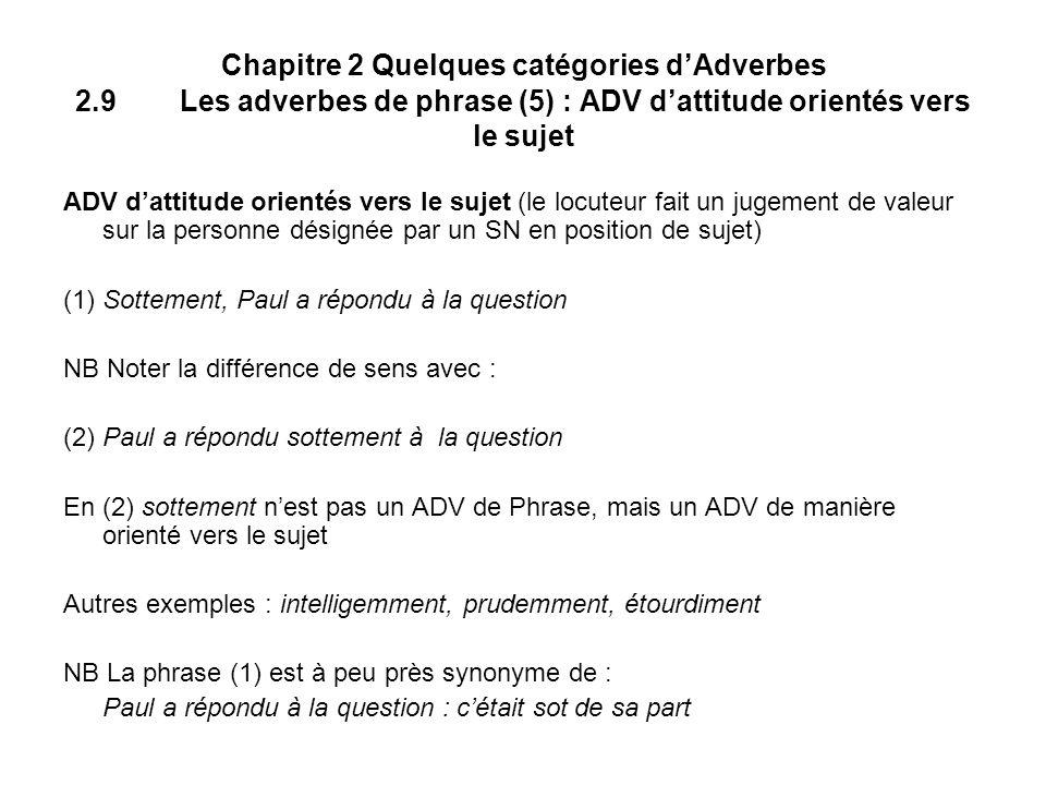 Chapitre 2 Quelques catégories dAdverbes 2.9Les adverbes de phrase (5) : ADV dattitude orientés vers le sujet ADV dattitude orientés vers le sujet (le locuteur fait un jugement de valeur sur la personne désignée par un SN en position de sujet) (1)Sottement, Paul a répondu à la question NB Noter la différence de sens avec : (2) Paul a répondu sottement à la question En (2) sottement nest pas un ADV de Phrase, mais un ADV de manière orienté vers le sujet Autres exemples : intelligemment, prudemment, étourdiment NB La phrase (1) est à peu près synonyme de : Paul a répondu à la question : cétait sot de sa part