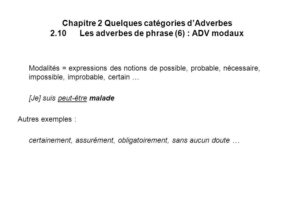 Chapitre 2 Quelques catégories dAdverbes 2.10Les adverbes de phrase (6) : ADV modaux Modalités = expressions des notions de possible, probable, nécess