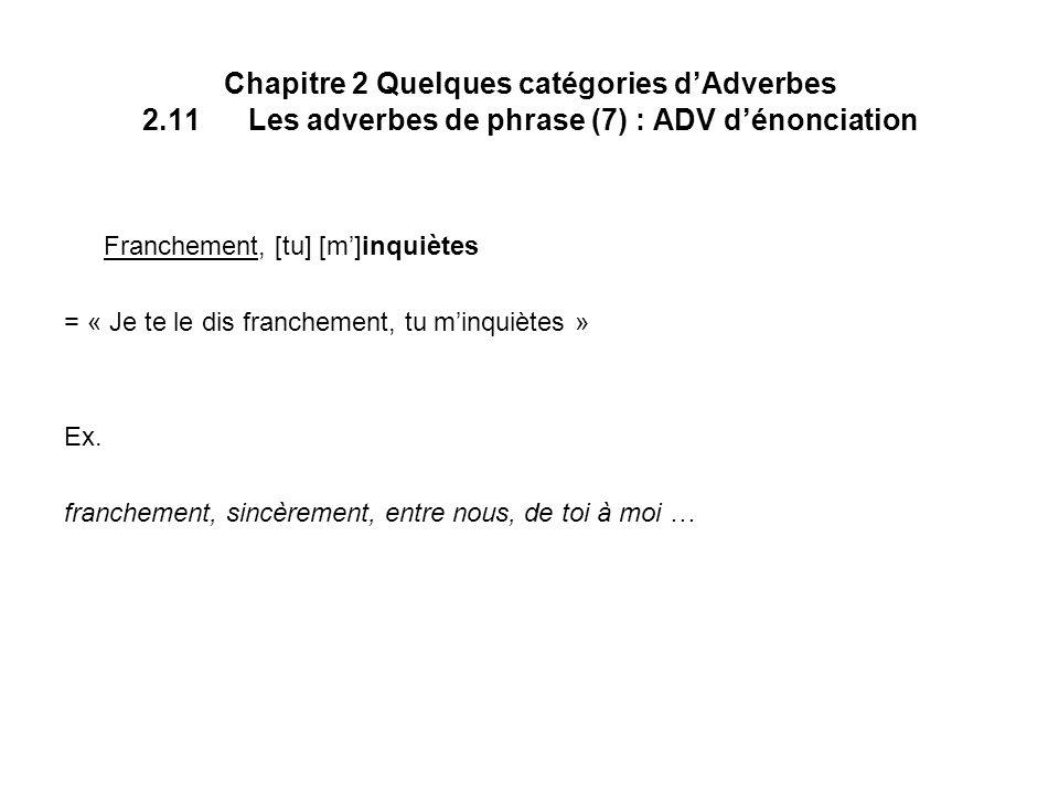 Chapitre 2 Quelques catégories dAdverbes 2.11Les adverbes de phrase (7) : ADV dénonciation Franchement, [tu] [m]inquiètes = « Je te le dis franchement