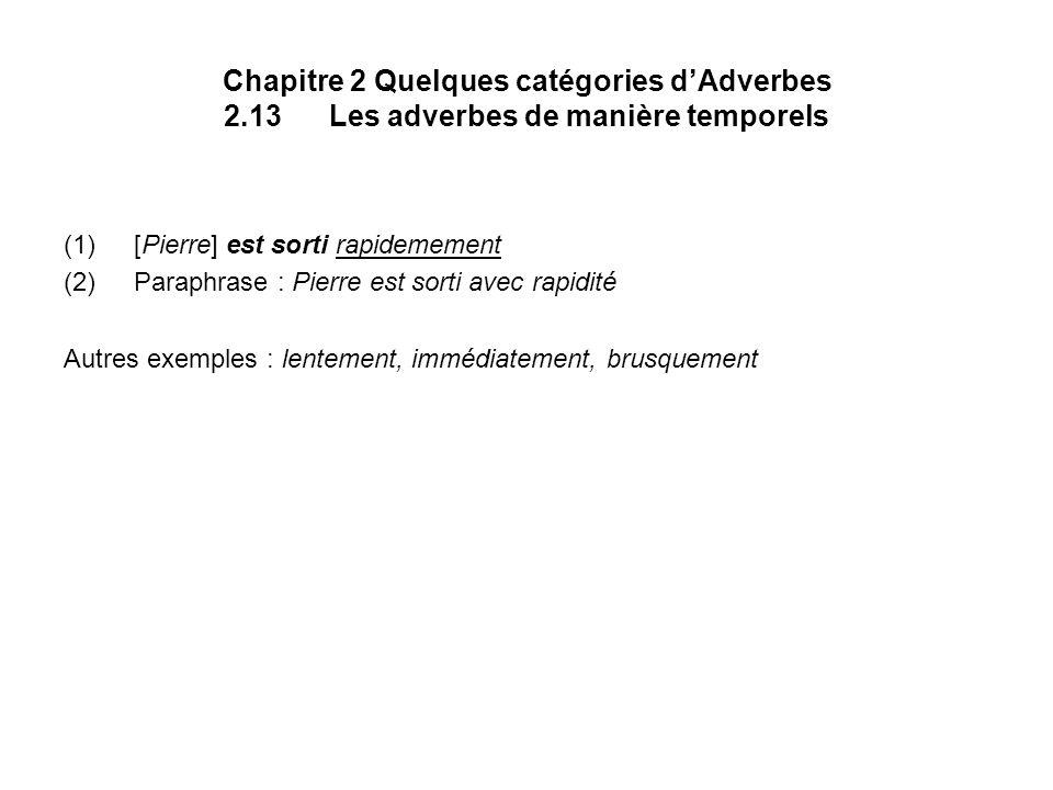 Chapitre 2 Quelques catégories dAdverbes 2.13Les adverbes de manière temporels (1)[Pierre] est sorti rapidemement (2)Paraphrase : Pierre est sorti ave
