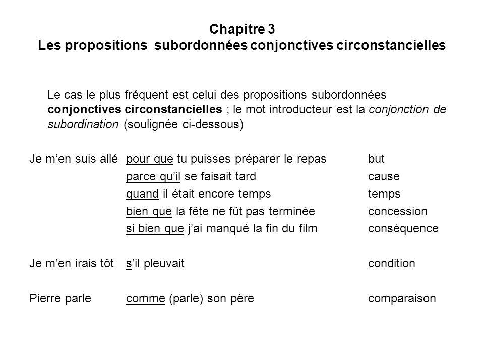 Chapitre 3 Les propositions subordonnées conjonctives circonstancielles Le cas le plus fréquent est celui des propositions subordonnées conjonctives c