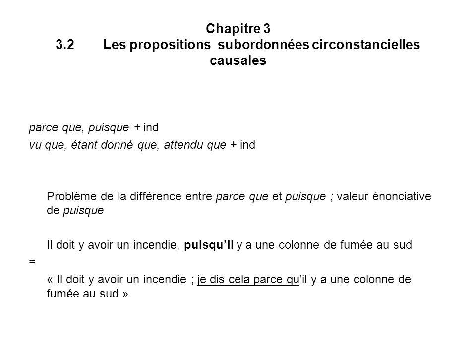 Chapitre 3 3.2Les propositions subordonnées circonstancielles causales parce que, puisque + ind vu que, étant donné que, attendu que + ind Problème de
