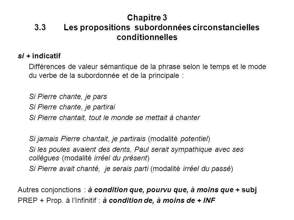 Chapitre 3 3.3Les propositions subordonnées circonstancielles conditionnelles si + indicatif Différences de valeur sémantique de la phrase selon le te