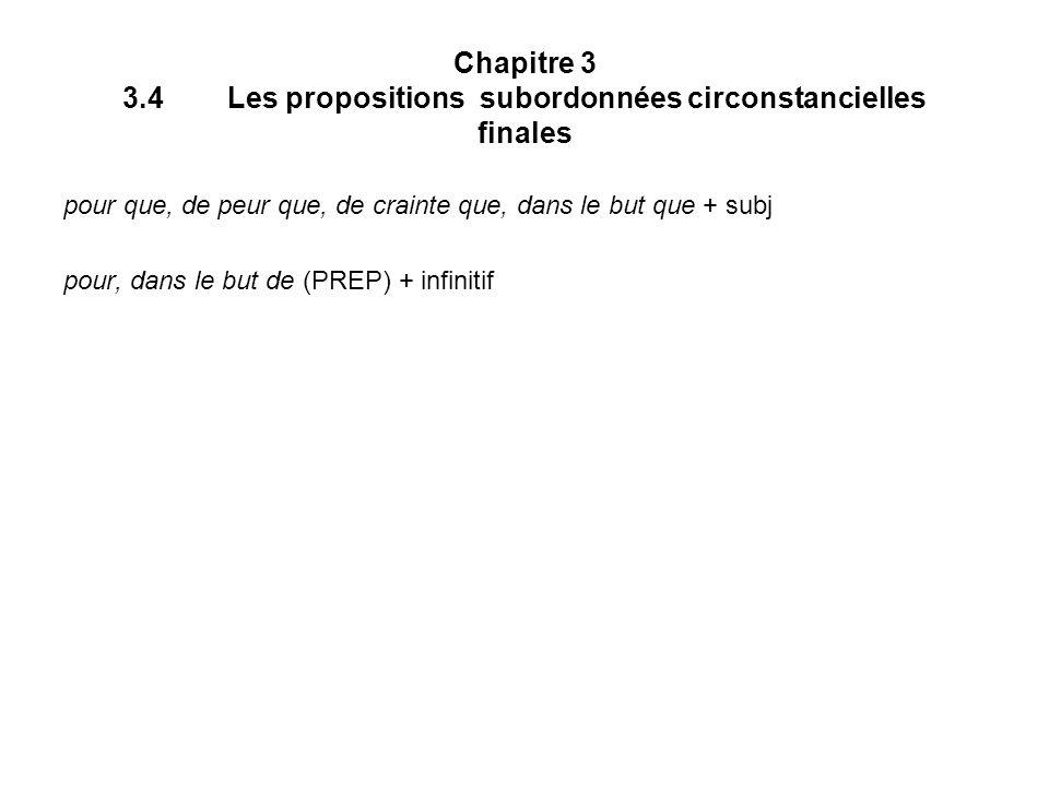 Chapitre 3 3.4Les propositions subordonnées circonstancielles finales pour que, de peur que, de crainte que, dans le but que + subj pour, dans le but de (PREP) + infinitif