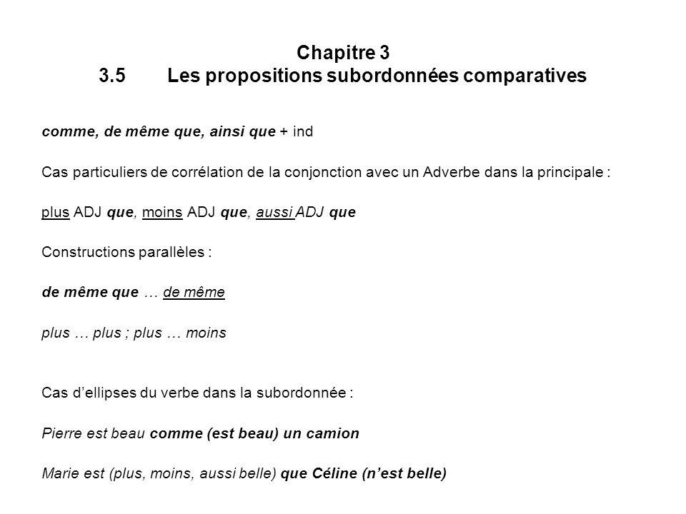 Chapitre 3 3.5Les propositions subordonnées comparatives comme, de même que, ainsi que + ind Cas particuliers de corrélation de la conjonction avec un