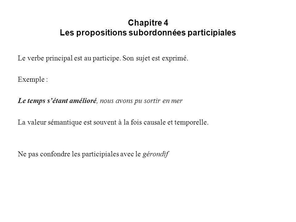 Chapitre 4 Les propositions subordonnées participiales Le verbe principal est au participe. Son sujet est exprimé. Exemple : Le temps sétant amélioré,