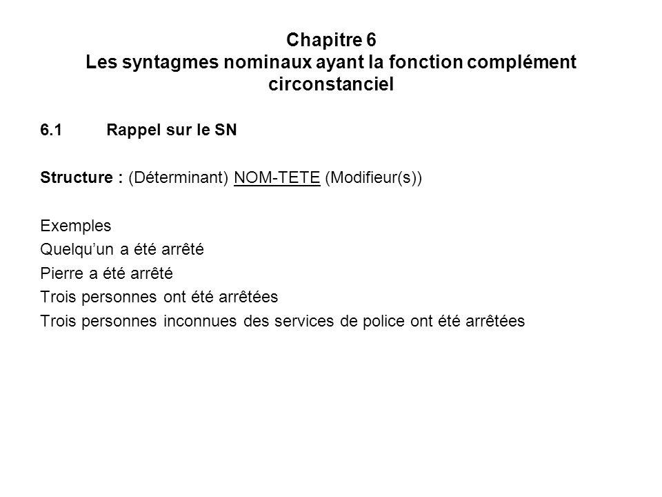 Chapitre 6 Les syntagmes nominaux ayant la fonction complément circonstanciel 6.1Rappel sur le SN Structure : (Déterminant) NOM-TETE (Modifieur(s)) Ex