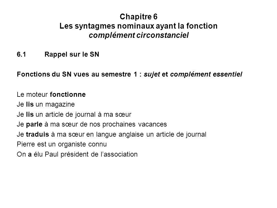 Chapitre 6 Les syntagmes nominaux ayant la fonction complément circonstanciel 6.1Rappel sur le SN Fonctions du SN vues au semestre 1 : sujet et complé