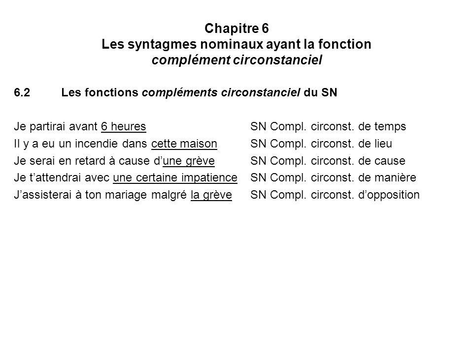Chapitre 6 Les syntagmes nominaux ayant la fonction complément circonstanciel 6.2Les fonctions compléments circonstanciel du SN Je partirai avant 6 he