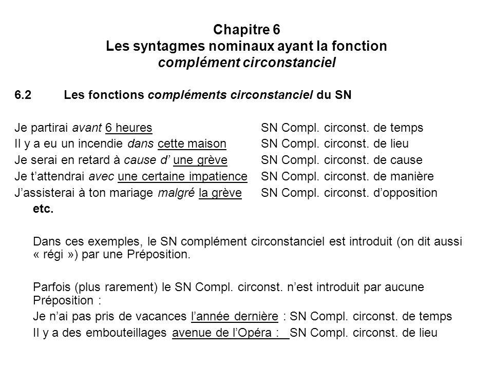 Chapitre 6 Les syntagmes nominaux ayant la fonction complément circonstanciel 6.2Les fonctions compléments circonstanciel du SN Je partirai avant 6 heuresSN Compl.