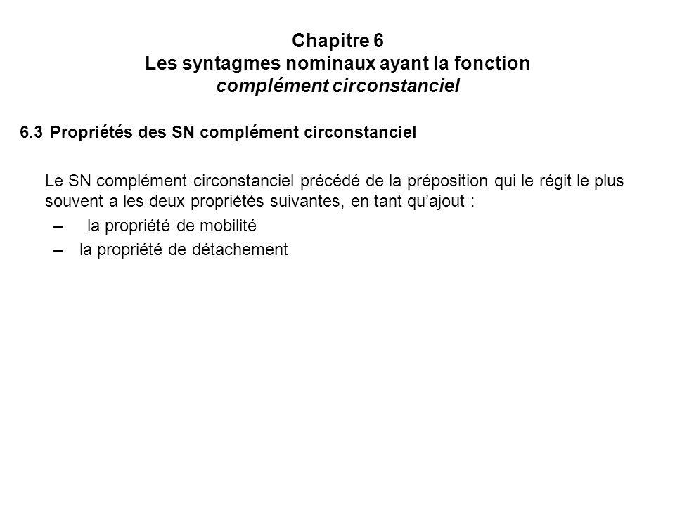 Chapitre 6 Les syntagmes nominaux ayant la fonction complément circonstanciel 6.3 Propriétés des SN complément circonstanciel Le SN complément circons