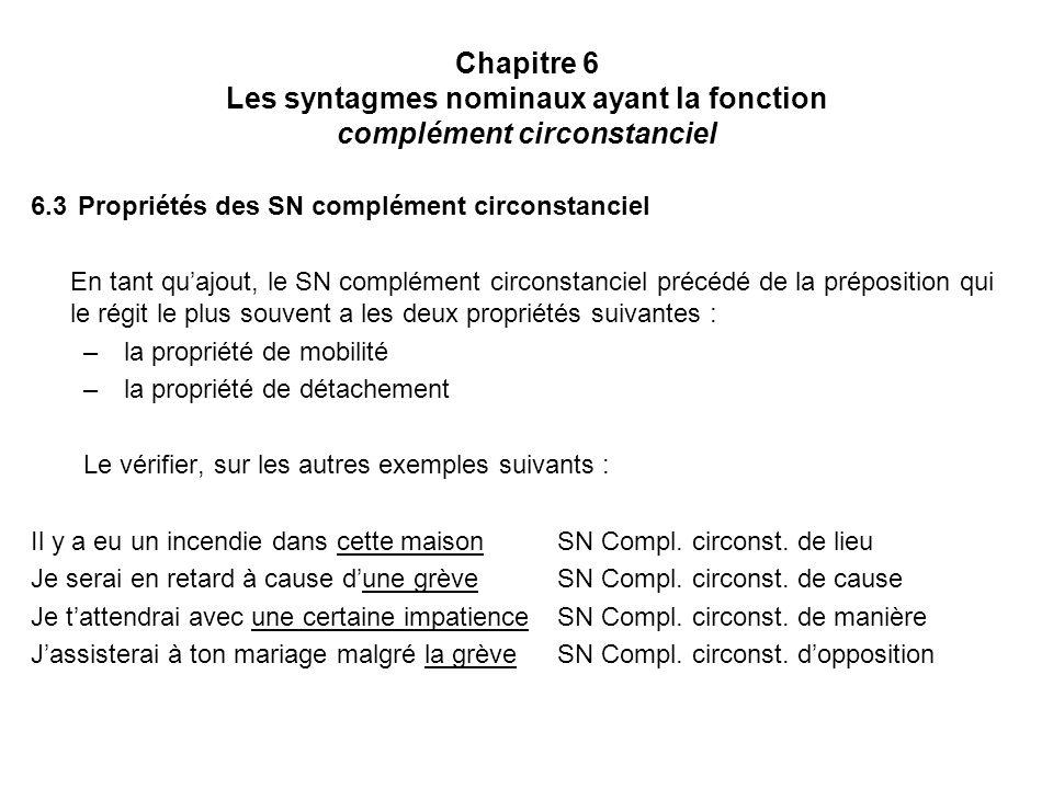 Chapitre 6 Les syntagmes nominaux ayant la fonction complément circonstanciel 6.3 Propriétés des SN complément circonstanciel En tant quajout, le SN c