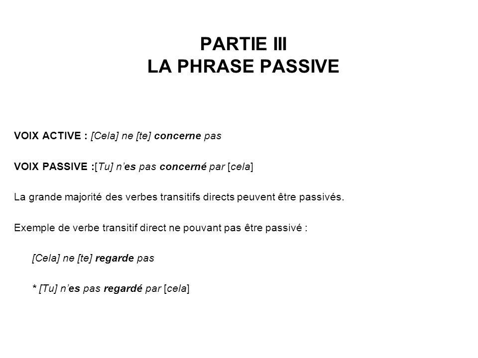 PARTIE III LA PHRASE PASSIVE VOIX ACTIVE : [Cela] ne [te] concerne pas VOIX PASSIVE :[Tu] nes pas concerné par [cela] La grande majorité des verbes transitifs directs peuvent être passivés.
