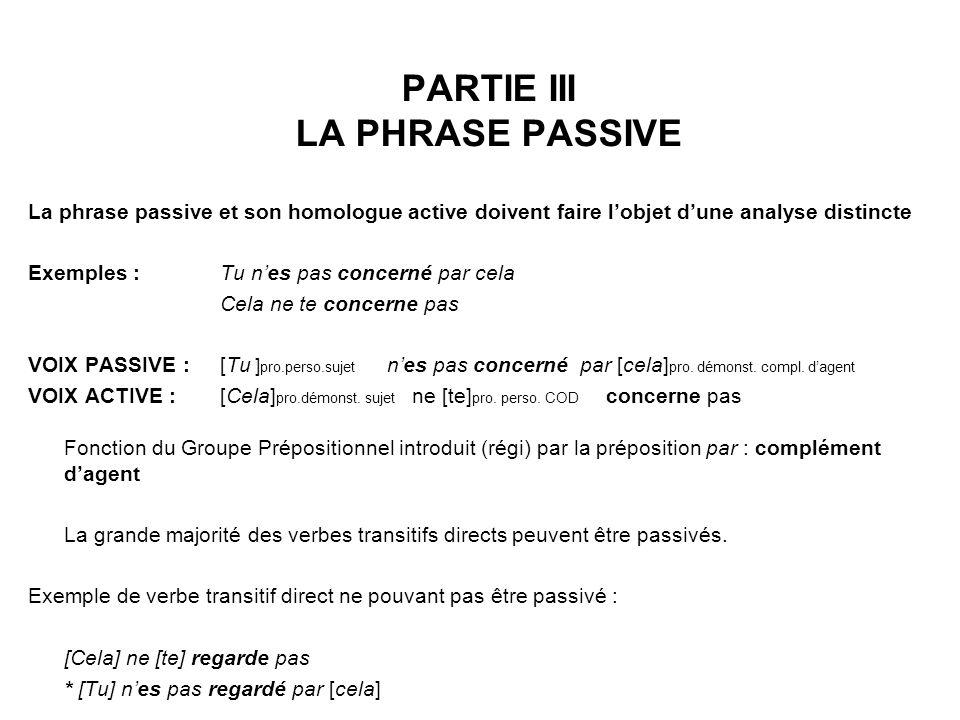 PARTIE III LA PHRASE PASSIVE La phrase passive et son homologue active doivent faire lobjet dune analyse distincte Exemples : Tu nes pas concerné par