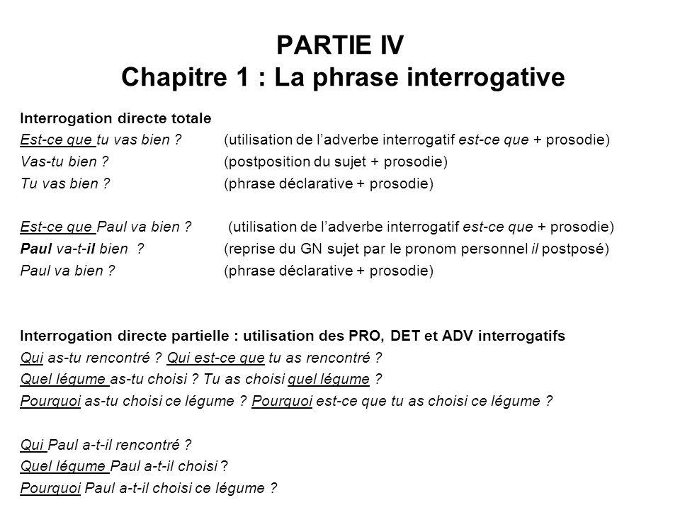 PARTIE IV Chapitre 1 : La phrase interrogative Interrogation directe totale Est-ce que tu vas bien ? (utilisation de ladverbe interrogatif est-ce que
