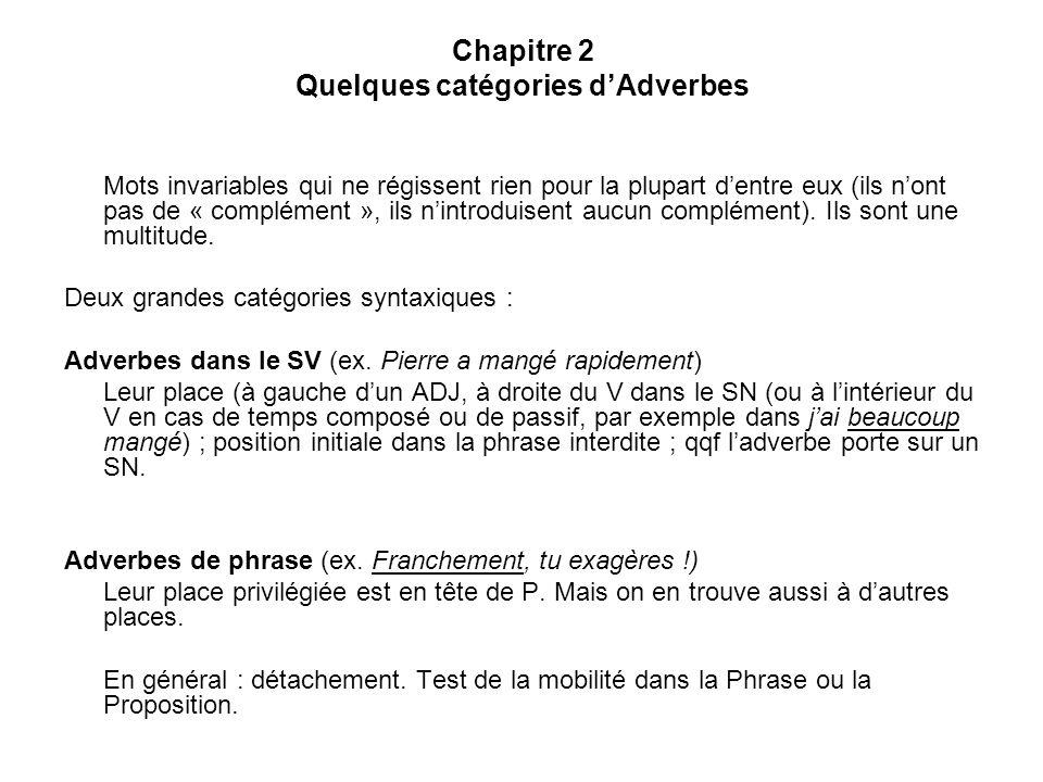 Chapitre 2 Quelques catégories dAdverbes 2.11Les adverbes de phrase (7) : ADV dénonciation Franchement, [tu] [m]inquiètes = « Je te le dis franchement, tu minquiètes » Ex.