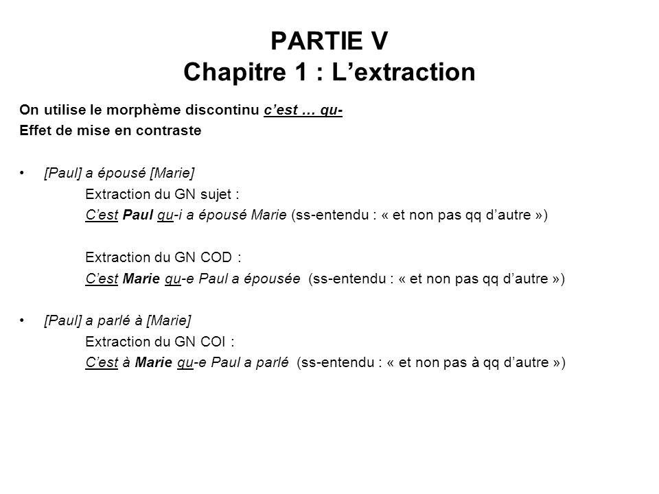 PARTIE V Chapitre 1 : Lextraction On utilise le morphème discontinu cest … qu- Effet de mise en contraste [Paul] a épousé [Marie] Extraction du GN suj